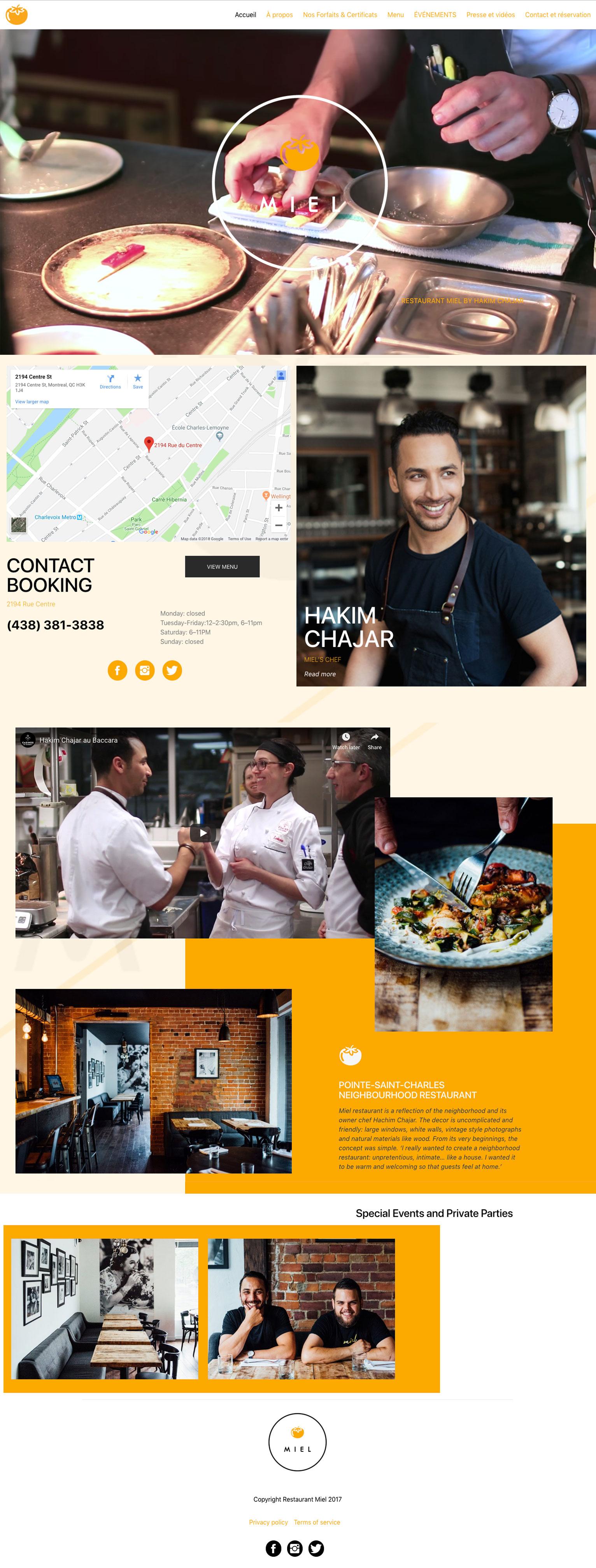 Site web Restaurant Miel Hakim Chajar